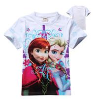 Wholesale Pre sale Fashion Hot New Arrival Cartoon Frozen Shirt Elsa Anna T Shirt Girls Tops Pure Cotton Short Sleeve Pink White C2063