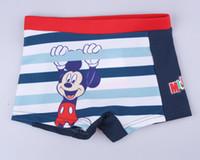 Boy Swim Trunks 2-3-4-5-6-7T Happy Mouse Boys Striped Shorts Swimming Trunks Kids Boy Cartoon Pattern Miki Stripes Bathing Pants Trunks Children Flat Foot Pants H0096