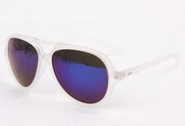 Descuento gafas de sol púrpura Unisex R4125 CATS5000 gafas de sol de marco transparente lentes de gafas de sol púrpura de Flash + caja, paño