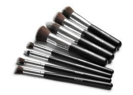 Wholesale 8PCS ALUNCE Beautiful Fashion Lady Loving black silver Pro Foundation blush Liquid brush Kabuki Makeup Brush Set Cosmetics ToolS ZH1216eight