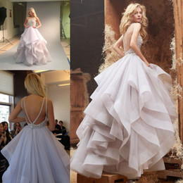 Wholesale 2014 hayley paige New Wedding Dresses Ball Gowns Crew Backless Tiers Floor Length Tulle Brifal Gowns