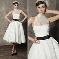 Wholesale 2014 vintage wedding dresses lace a line black bow sashes