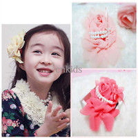 Barrettes Cloth Solid Baby Hair Accessories Girls Hair Clips Hair Flowers Fashion Bowknot Princess Headwear Children Accessories Kids Cute Pearl Flower HA40410-97