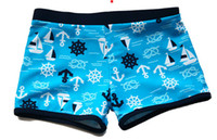 Boy Swim Trunks 1-2T 3-4T 5-6T 7-8T 9-10T Muti-color Summer Children Boys Anchors Pattern Elastic Swimming Trunks Kids Boy Flat Foot Comfort Bathing Trunks Childs Beach Wear H0097