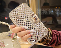 For Apple iPhone Leather For Christmas new Bling 3D rhinestone flip case diamond phone case PU skin Leather for iphone 5 5c 5S,for iphone 4 4s luxury Wallet Card Case
