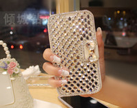 For Samsung Leather For Christmas Retail 1pcs Luxury Bling Rhinestone Diamond for samsung galaxy Note 2 Note 3 S4 S3 N7100 i9500 i9300 wallet flip phone leather case cover