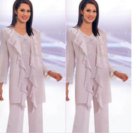 Wholesale New Mother of the bride pant suits Hot Sale Elegant Chiffon pleat long Sleeves Sequins Mother Of the Bride
