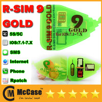 Wholesale Original RSim R SIM R SIM Gold Unlock Card For IOS x IOS7 AUTO Unlock Iphone S S C AU Sprint Verizon T MOBILE