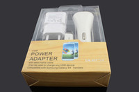 Wholesale NEW design in sync cable USB A wall charger adapter Mini car charger kit sets for G s AIR Galaxy S4 S5 with retail box