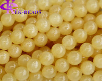 Wholesale Discount Natural Genuine Yellow Honey Jade Round Loose Stone Beads mm FitJewelry DIY Necklaces or Bracelets quot