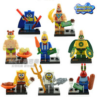 Wholesale Spongebob Big Star Crab Boss Squarepants Figures Building Blocks Toy DIY Bricks Toys For Children