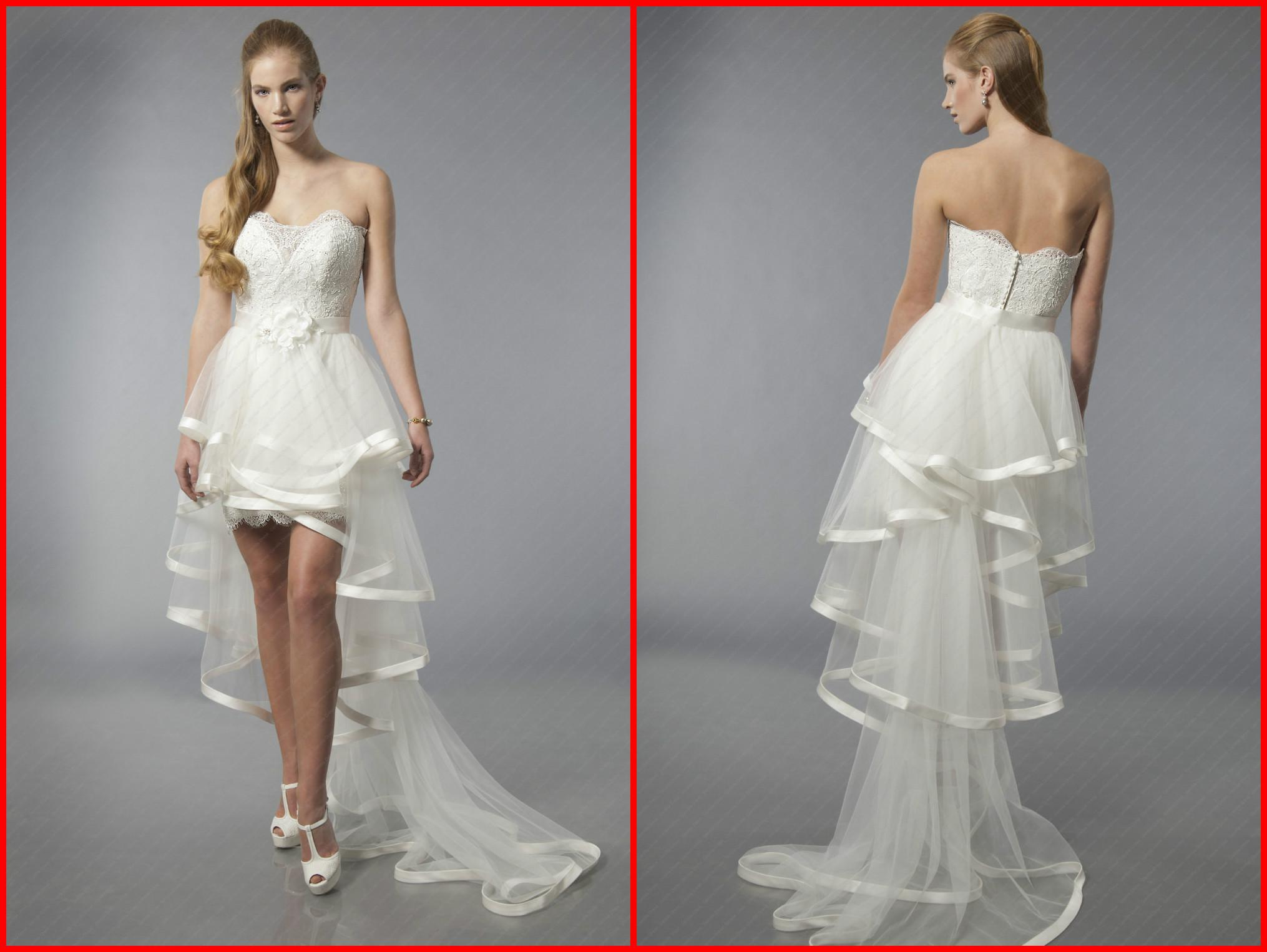 Sheath Mini/Short Lace Beach Wedding Dresses Strapless Sleeveless ...