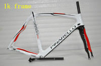 Wholesale Pinarello K Carbon Wave Bike Frame Dogma Think Two Full Carbon Fiber Wheels set White and Red Road Racing Bicycle Glossy Frameset