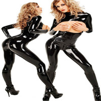 Cheap women sexy erotic costume latex cloth black adult catsuit sexy underwear pole fantasy fetish hot chaps jumpsuit Lingerie