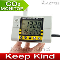Wholesale Freeshipping AZ7722 Wall mounted CO2 gas detector meter carbon dioxide detector with temperature