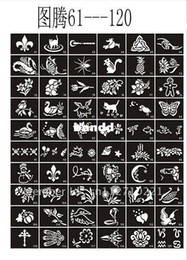 Wholesale 50 Mixed Design Sheets Stencils for Body Painting Glitter Temporary Tattoo Kit