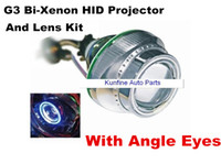 HID Conversion Kit 12V HID Xenon Wholesale price ! Very Cheap shipping !G3 Bi-Xenon HID Projector Lens Kit with Angle Eyes+12months warranty KF11013