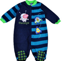 Boy Spring / Autumn Flannel New 2014 Peppa Pig One-pieces Romper George Pig Boys Jumpsuits Baby Stripe Coral Fleece Rompers Children Sleeping Bags kids Pajamas C2060