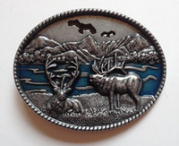 Alloy belt buckle loops - Western Browning Brass Buck Belt Buckle SW B1082 with pewter finish with cm wideth loop