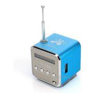 Wholesale free ship Blue Digital portable Speaker Mini Speaker MP3 Player USB Disk Micro SD TF Card FM Radio Line In Out sound box