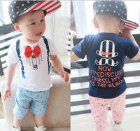 Cheap Summer New Arrival Baby Clothing Set Bow Tie Strape Short Sleeve Tshirt + Anchor Shorts 2pcs Kid's Boy Casual Suit 0-3Y Toddler Wear GX122