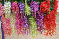 Wholesale 12pcs Good Quality cm M silk simulation artificial Purple Wister wisteria flower garlands for wedding Christmas Decorative Vine flowers