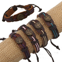 Wholesale Leather Charm bracelets jewelry with colors The cross Metal decoration new fashion Charm Bracelets