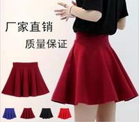 Wholesale 2015 New Fashion Women Ladies Elastic Waist Pleated Flared Skater Mini Skirt Dress Colorful High Quality