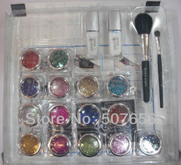 Wholesale Professional temporary tattoo body art Glitter Tattoo kit with color brushes glue stencil