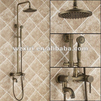 Bath & Shower Faucets China (Mainland) With Slide Bar Luxury High Quality Brass Head Rain Shower Set antique brass Overhead Shower Set Wall Mounted Free Shipping