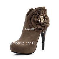 Cheap Free shipping! ! 2013 Hot new arrival women fashion sexy stiletto boots Martin boots brown metal decorative flowers
