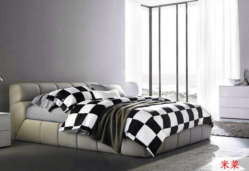 Bed With White Comforter