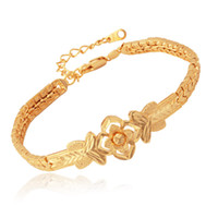 Wholesale New Item Vintage Blossom Flowers Cuff Bracelet Bangle K Real Gold Plated Bangle Fashion Jewelry For Women YH5191
