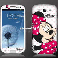 Wholesale Diamond Glitter Cartoon Protective Skin Sticker For Samsung Galaxy S3 i9300 Minnie Mouse Despicable me Mario package