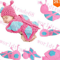 Boy Summer Newborn Hat Promotion Fashion Cute Baby Toddler Costume Photo Prop Knit Crochet Butterfly Suit Hat Cap