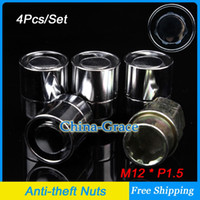 Wholesale 4Pcs Set M12x1 Wheel Lock Nuts Anti theft Security Key Nut Enhanced Groove Style Car Alloy Nuts Silver