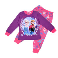 Wholesale Direct Line children clothing girl girls frozen elsa and anna long sleeved sleeve winter pajamas pyjamas sleepwear
