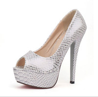 Women Pumps Spring and Fall Women Sandal Dress Shoes 2014 Sexy Snake Black Silver Peep Toe Platform High Heels Prom Evening Shoes Wedding Shoes e35a56