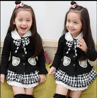 Girl Spring / Autumn Long Autumn winter 2014 children's clothing wholesale Vintage plaid skirt sets of the Girls cardigan two-piece outfit NVTONGY012