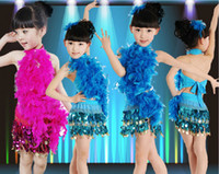 ballet dance costumes - Girls Sequins Feathers Cheerleading Dance Clothes Dress Children s Dancewear Performance Clothes Modern Ballet Latin Dance Stage Costume