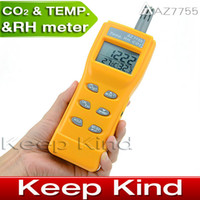 Wholesale Freeshipping AZ7755 Handheld CO2 detector carbon dioxide detector Gas Detector with temperature humidity