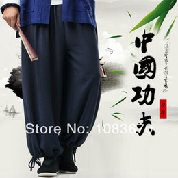 Wholesale Male trousers chinese style kung fu pants chinese style tang suit trousers tai chi pants fluid straight plus size casual pants
