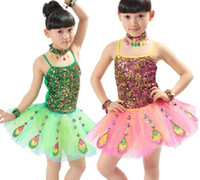 Wholesale Girls Sequins Peacock Suspender Skirt Dance Clothes Dress Children s Dancewear Performance Clothes Modern Ballet Latin Dance Stage Costume