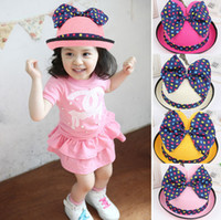Wholesale 2014 Summer New Arrival Children Big Bow Polka Dot edging Bucket hats kids pots hat Straw Hat adorable baby Beach Sun Hat Visor Caps Colors