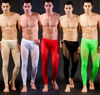 Wholesale Fashion Ultra thin Mens Clothing Zentai Leggings Ballet long johns Costumes Nylon Spandex silk mesh gauze transparent for man