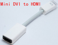 DVI Cable Laptop white 100pcs lot*Mini DVI Male To HDMI Female M F Video converter Adapter Cable Cord For Apple iMac Macbook Pro White