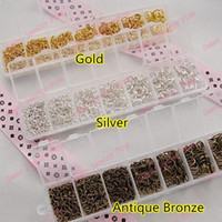 Wholesale Gold Silver Antique bronze Plated Open Jump Rings Mixed mm mm Assorted Split Rings Jewelry Findings