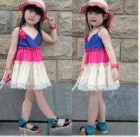 TuTu Summer Pleated New hot sale baby girls Color sling Tutu dress Sleeveless vest dress children Summer dress Beach slip dress