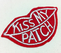 Wholesales~10 Pieces Kiss My Patch (4.5 x 8cm) Punk patch Embroidered Iron On Applique Patch (WW)