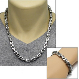 8mm Hot Fashion Stainless Steel Necklace Bracelet Set Super man jewelry portfolio wholesale
